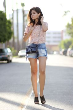 forever21-ripped-shorts-lace-blush-top-rebecca-minkoff-mini-mac-holographic-zara-mules