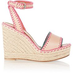 Valentino Embroidered Wedge Espadrilles ($319) ❤ liked on Polyvore featuring shoes, sandals, espadrilles, heels, valentino, colorless, embellished wedge sandals, high heel shoes, espadrille wedge sandals and platform wedge sandals