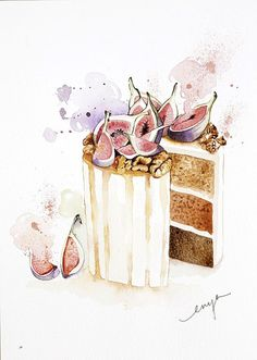 ARTFINDER: Figs cake by Enya Todd - figs and walnuts honey cake...