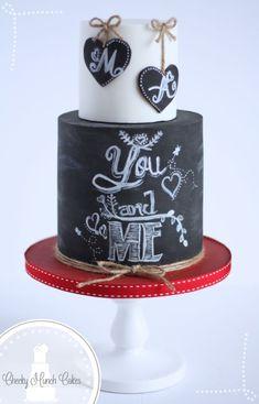 Valentines Chalkboard Cake - Cake by AC Saldua - CakesDecor Pretty Cakes, Beautiful Cakes, Amazing Cakes, Chalkboard Cake, Chalkboard Wedding, Fondant Cakes, Cupcake Cakes, Valentines Day Cakes, Engagement Cakes