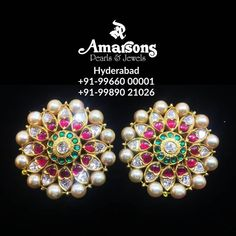 Stunning gold ear tops studded with polki rubies and emeralds. Ear tops with pearls.Whatsapp on : Antique Jewellery Designs, Gold Earrings Designs, Gold Jewellery Design, Necklace Designs, Gold Jewelry Simple, Coral Jewelry, Ear Jewelry, Nice Jewelry, Real Diamond Earrings
