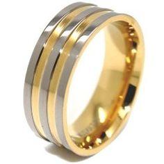 Blue Chip Unlimited - 8mm Titanium Triple Silver   18k Gold Plated Wedding Ring  Men` 6bd01d879692