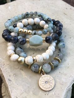 Natural Jade Jasper Beads Stackable Bracelet Set / Gemstone - Before After DIY Stackable Bracelets, Gemstone Bracelets, Bracelet Set, Bracelet Making, Gemstone Jewelry, Beaded Jewelry, Jewelry Making, Charms For Bracelets, Silver Bracelets