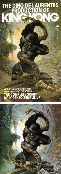 FRANK FRAZETTA - The Dino De Laurentis Production of King Kong by Lorenzo Semple Jr - 1977 Ace Books - print/cover by capnscomics.blogspot.com