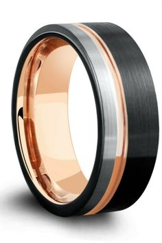 Modern brushed tungsten wedding ring for men. This unique wedding ring is three tones... Black, 18k rose gold and modern black.