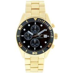 Armani AR5857 Mens Quartz Goldtone Steel Black Watch