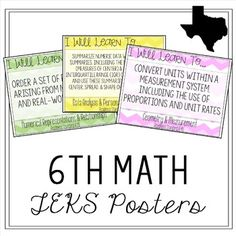 This is a set of 52 posters of the Texas Grade Math TEKS.All Grade Math TEKS are included (Readiness, Supporting, & Non-Tested)Each poster includes the reporting category, full wording of the TEK, whether it is a readiness or supporting s Math Worksheets, Math Resources, Sixth Grade Math, Fun Math Activities, I Can Statements, Math Vocabulary, Math About Me, Secondary Math, Math Classroom