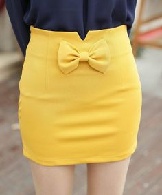 $17 Short skirts. Yellow, bow skirt bow, Perfect spring outfit