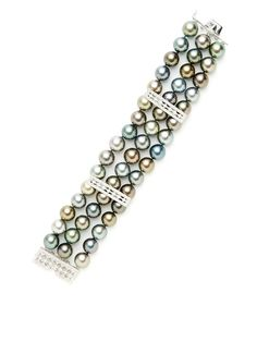 Diamond Bar & Tahitian Pearl Triple Strand Bracelet