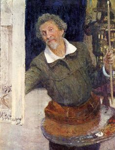 Ilya Repin self-portrait at work, 1915
