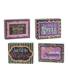Take a look at the Nested Halloween Quote Block Set on #zulily today!