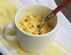 1/3 cup pasta 1/2 cup water 1/4 cup milk 1/2 cup shredded cheddar cheese Mix pasta and water in a large mug or small bowl. Microwave for 2 m...
