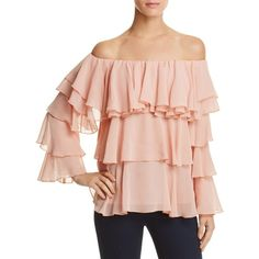 Endless Rose Off-The-Shoulder Tiered Ruffle Top (7,065 INR) ❤ liked on Polyvore featuring tops, sweaters, blush, pink off shoulder top, pink off the shoulder sweater, pink sweater, off shoulder sweater and layered ruffle top