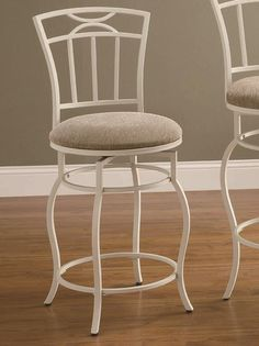 The Mona White Metal Counter Height Swivel Stool from Coaster, Co. has a delicate look with a padded foam swivel seat for comfort. With a dining seat height of 24 inches, this stool comes in a creamy white eggshell finish paired with light beige upholster White Bar Stools, Cool Bar Stools, Metal Bar Stools, Swivel Bar Stools, Bar Chairs, Dining Chairs, Coaster Fine Furniture, Home Bar Furniture, Furniture Showroom