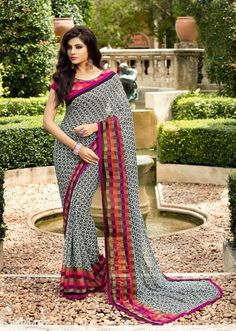 Sarees at just – bestlooks Georgette Saree Party Wear, Chiffon Saree, Georgette Sarees, Saree Blouse Patterns, Saree Blouse Designs, Indian Beauty Saree, Indian Saris, Indian Wear, Floral Print Sarees