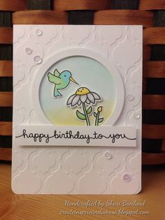 Lawn Fawn - Gleeful Gardens+ coordinating dies, Scripty Sayings, Stitched Circle Stackables _ lovely birthday card design by Shari via| Flickr - Photo Sharing!