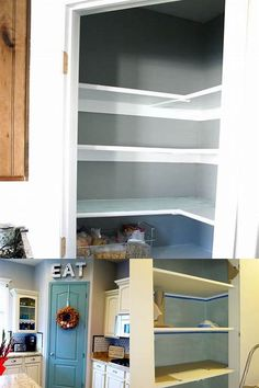 Building a Pantry - Bing images Kitchen Pantry Design, Kitchen Organization, Building A Pantry, Bedroom Storage For Small Rooms, Built In Pantry, Organizing Ideas, Bathroom Medicine Cabinet, Home Projects, Cribs