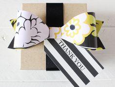 printable wedding whimsical botanical collection: black + white floral bow with striped tag  {printableweddings.com}