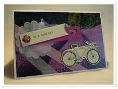 papierrascheln.blogspot.de 》Eine DIN A6 große Karte mit einem Lavendel-Kartenmotiv von IKEA. Darauf 2 Streifen Washi-Tape in rosé und beige. Das Fahrrad aus dem Set ' Pedal Presents' von Stampin' Up! habe ich mit mit Hilfe von Dimensionals aufgeklebt. Mit einer Briefkopfklammer habe ich das (mit der Wellenkreisstanze ausgestanzte) Spinnepapier, den Satz 'It's your day' aus dem Set 'Outlined Occasions' und das Herz befestigt.