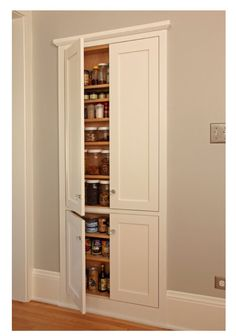 Reclaim space between wall studs for pantry