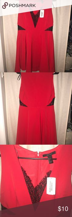 Brand new dress from Forever 21! Red & black light weight dress!  Red body with black lace accents. Never worn! Forever 21 Dresses Mini
