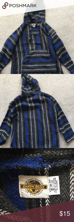 Blue and Black Striped Mexican Hoodie (Drug Rug) Only worn a few times. Really soft. no holes Earth Ragz Tops Sweatshirts & Hoodies