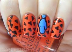 Fred Flintstone nails. Love the minimalist character style!