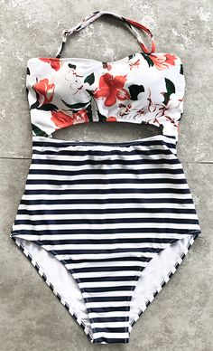 Refresh your summer with in style new arrivals~ We all love this pretty print one-piece swimsuit. Tie at back, cutout at waist, removable halter design! You will catch all the eyes on the beach. FREE shipping. SHOP NOW.