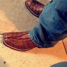 """Love this croc look whether """"real"""" or not. Western Outfits, Western Wear, Western Boots, Mens Boot, Ostrich Boots, Kicks Shoes, Brown Leather Ankle Boots, Alligators, Square Toe Boots"""