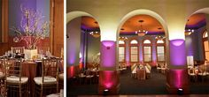 Purple uplights with gold accents