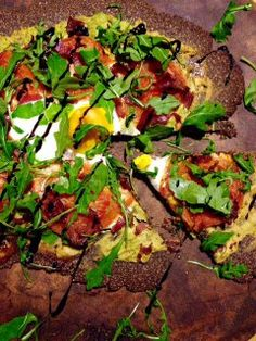 Breakfast Pizza using almond and buckwheat flours from The Happy Hungry Yogi