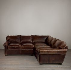 Leather sectional from Restoration Hardware...for the Living Room. Love the distressed leather.