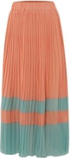 Jolie moi colour block pleated maxi skirt with elasticated waistband. length 88cm.