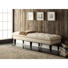 "Oh! Home 62-inch Francesca Cream Linen Tufted Bench with Espresso Legs $162. 62""w x 19.69""d x 17.72""h"