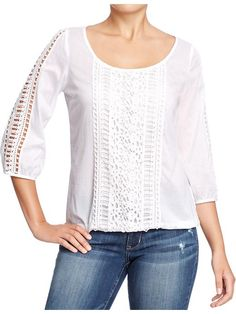 Boho Chic Gauze Top with Crochet Lace Detail Crochet Blouse, Crochet Lace, Cute Blouses, Shirt Blouses, Tailored Shirts, Old Navy Women, Crochet Clothes, Lace Detail, Boho Chic