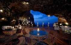 bar inside the cave Grotta Palazzesein the city of Polignano a Mare
