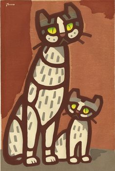 "Art by Tomoo Inagaki (1902-1980), 1959,""Cat and Kitten"", woodblock."