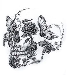 Small Skull Tattoo, Skull Tattoo Flowers, Skull Rose Tattoos, Skull Tattoo Design, Flower Tattoos, Body Art Tattoos, Tattoo Drawings, Small Tattoos, Tattoo Designs