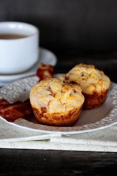 Bacon and Cheddar Cheese Breakfast Muffins from Dine and Dish