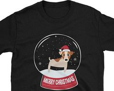 Jack Russell Terrier Santa Christmas Puppy Dad Mom Dog lovers Gift New Year NY 2018 Snowball Unisex Funny T-Shirt 456