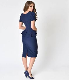 Stop Staring! 1940s Style Navy Blue Short Sleeve Faith Wiggle Dress