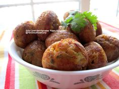 "Pan Gravy Kadai Curry: Spicy Lentil Ball Pancakes/South-Indian Aebleskiver ""Kaara Paniyaram"""