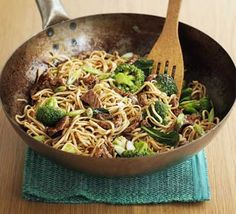 Beef and Broccoli Noodles ~ Easy, Serves 4 ~ Per serving:  352 calories, protein 33g, carbohydrate 39g, fat 9 g, saturated fat 2g, fibre 4g, sugar 5g, salt 3 g