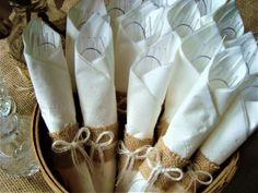 "Set of 25 Small Burlap Napkin Rings (Ideal for Disposable Silverware and Napkins) – With Option for ""No Bows"" - Brautparty Ideen 50th Wedding Anniversary, Anniversary Parties, Wedding Napkins, Wedding Table, Wedding Silverware, Wedding Ideas, Burlap Bows, Burlap Lace, Bridal Shower Rustic"