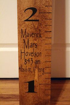 Wooden Ruler  Growth Chart  Birth by RememberedOnceMore on Etsy, $50.00
