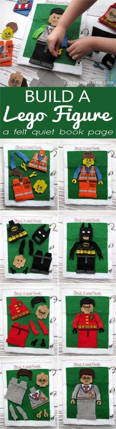 This quiet book page is so much fun! Build a Lego figure, like Batman or Harry Potter, using felt arms, legs, and bodies! Lego fans will love this!