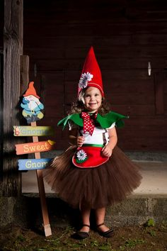 Lovely little Garden Gnome/ Elf tutu costume (can be made in any color) made with 100% premium nylon tulle. Will come as shown unless otherwise