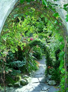 Steps to the garden at Ballygally Castle Hotel in Northern Ireland
