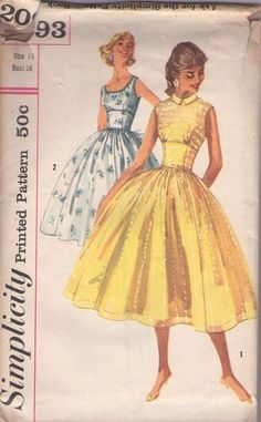 MOMSPatterns Vintage Sewing Patterns - Simplicity 2093 Vintage 50's Sewing Pattern SPECTACULAR Rockabilly Mad Men Fitted Cinched Midriff Emp...