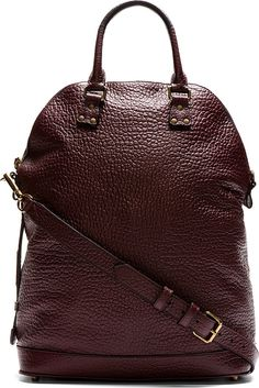 Burberry Prorsum - Burgundy Grained Leather Tote Bag | SSENSE